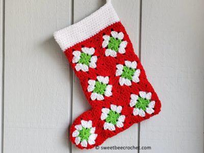 crochet Vintage Granny Square Christmas Stocking free pattern