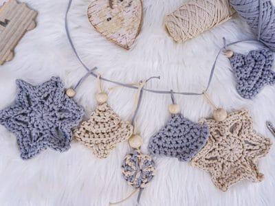 Crochet Cord Christmas ornaments free pattern