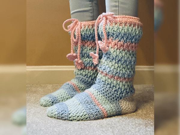 crochet Alpine Slipper Socks free pattern