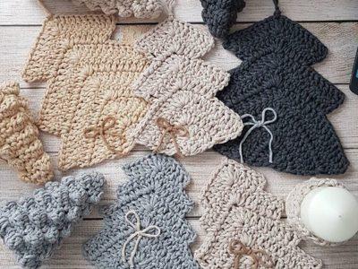 crochet Christmas Flat Tree Ornaments free pattern
