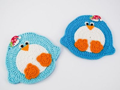 crochet Christmas Penguin Coaster free pattern