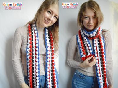 crochet Cool Santa Reindeer Scarf free pattern
