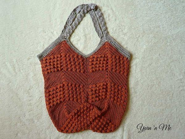 crochet Diamond Bobble tote free pattern