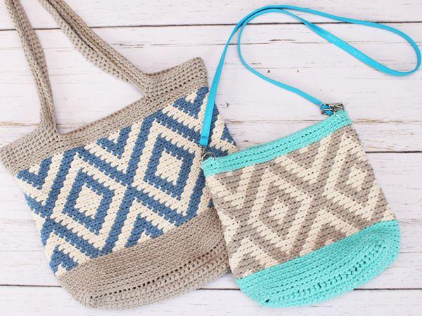 crochet Diamond Tote free pattern