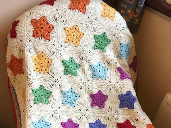 crochet Rainbow of Stars Blanket easy pattern