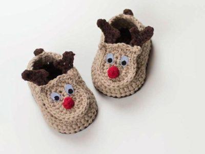 crochet Reindeer Baby Booties easy pattern