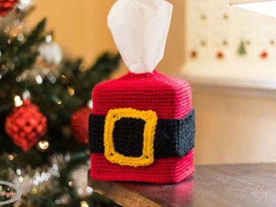 crochet Santa Belt Tissue Box Cover free pattern