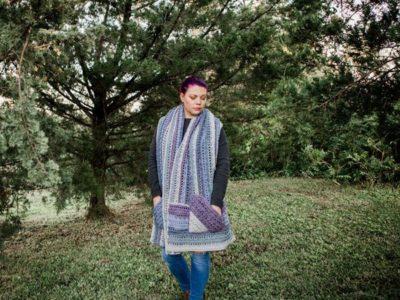 crochet Sugar Plum Pocket Wrap free pattern