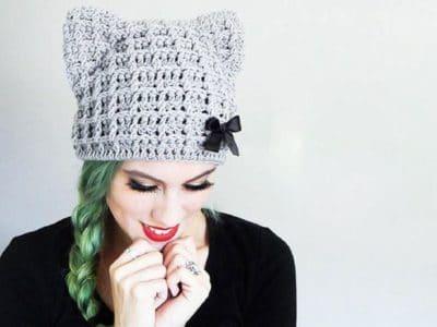 Crochet Cat Beanie easy pattern