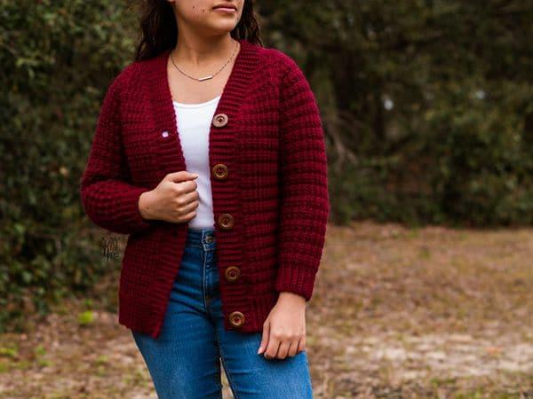 crochet Crimson Cardigan free pattern