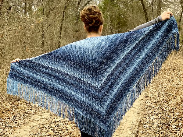 crochet Denim Shawl free pattern
