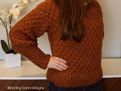 crochet Diamond in the Rough Sweater free pattern