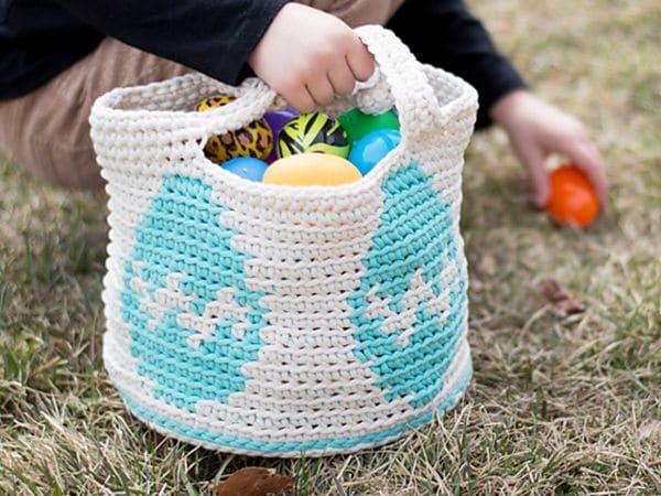 crochet Easter Egg Basket free pattern