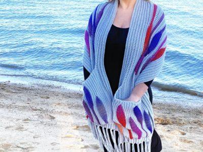 crochet Embossed Fall Pocket Shawl free pattern
