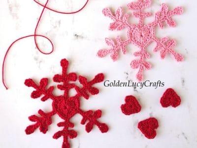 crochet Heart Snowflake free pattern
