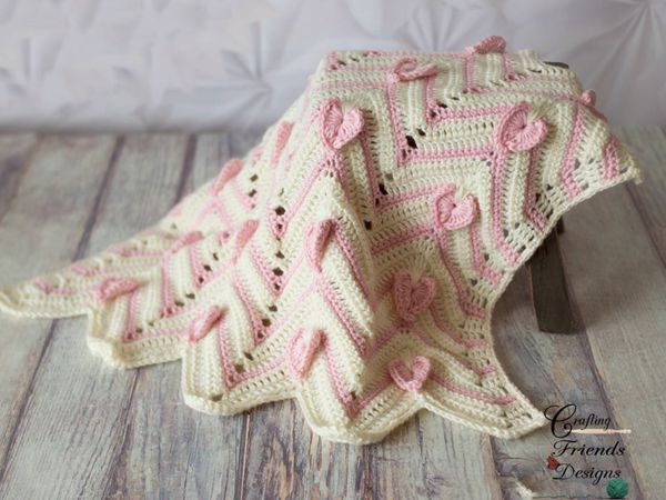 crochet Heartbeat Chevron Blanket easy pattern