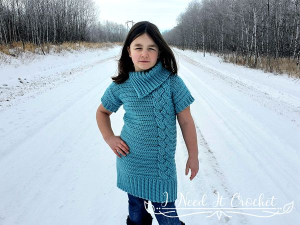Kids Cozy Cabled Sweater Dress