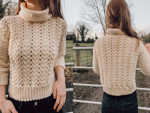 crochet Laoise Turtleneck Sweater free pattern
