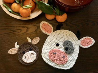 crochet Moo-Moo Cow Potholder free pattern