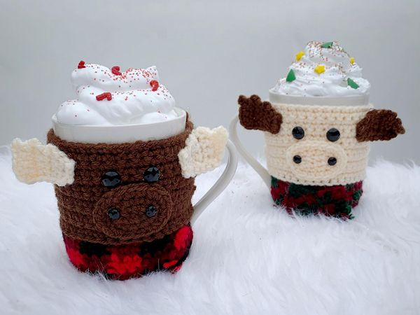 crochet Moose Mug Cozy free pattern