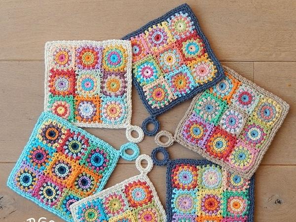 crochet SQUARES POTHOLDER easy pattern