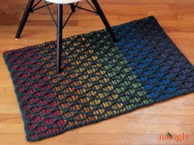 crochet Striped Hourglass Area Rug free pattern
