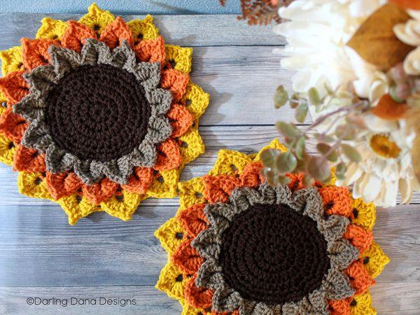 crochet Sunflower Candle Coaster free pattern