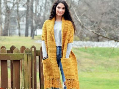 crochet The Pason Pocket Shawl easy pattern