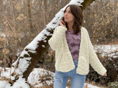 crochet The Snowcap Cardigan free pattern
