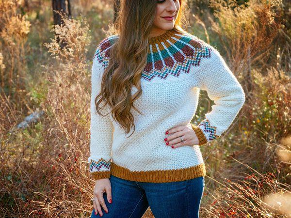 crochet Traveler Fair Isle Sweater easy pattern