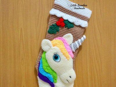 crochet Unicorn Christmas Stocking easy pattern