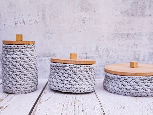crochet Woven Baskets Set free pattern