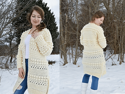 crochet Bobbles of Snow Cardigan free pattern