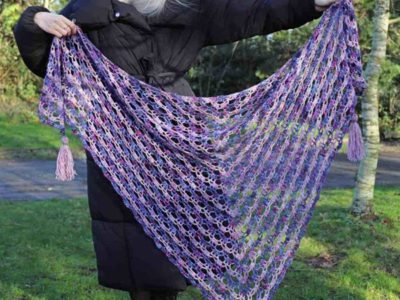 crochet Faded Blooms Lace Shawl free pattern