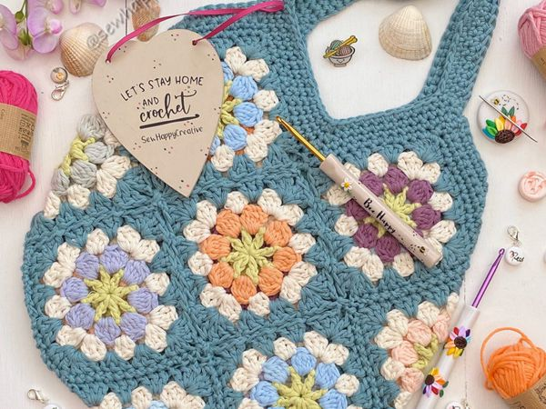 crochet Flower Festival Bag easy pattern