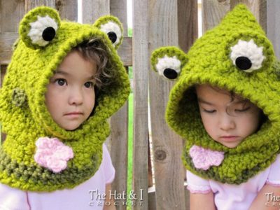 crochet Frog Hooded Cowl easy pattern