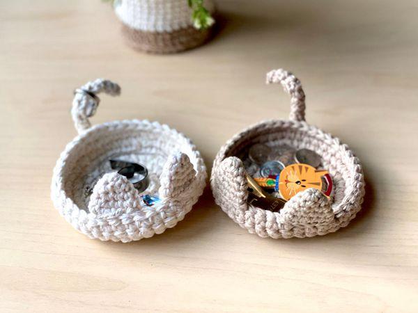 crochet Kitty Trinket Dish easy pattern