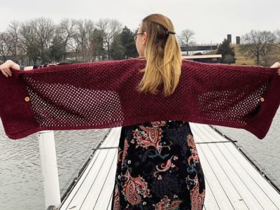 crochet Simple Pocket Shawl free pattern