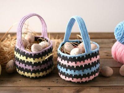 crochet Spiked Stitch Basket free pattern
