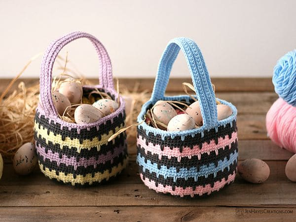 crochet Spiked Stitch Basket free pattern