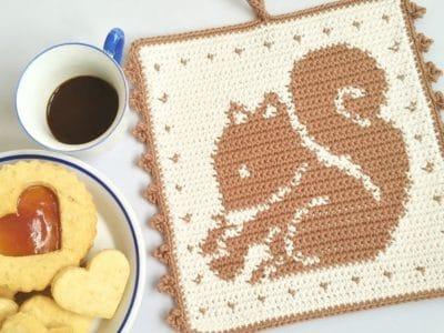 crochet Squirrel Potholder free pattern