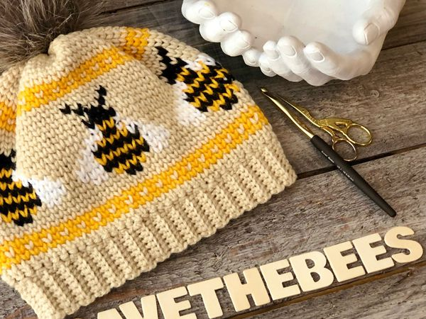 crochet The Bumble Bee-nie Hat easy pattern