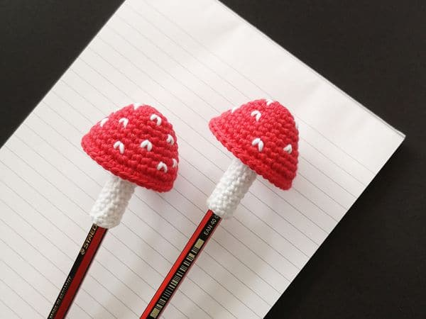 crochet Toadstool Pencil Topper free pattern