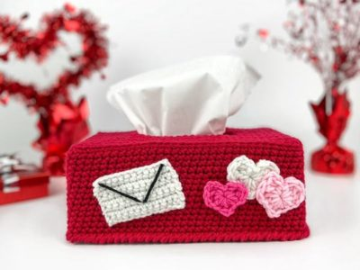 crochet Valentines Day Tissue Box Cover and Mailbox free pattern