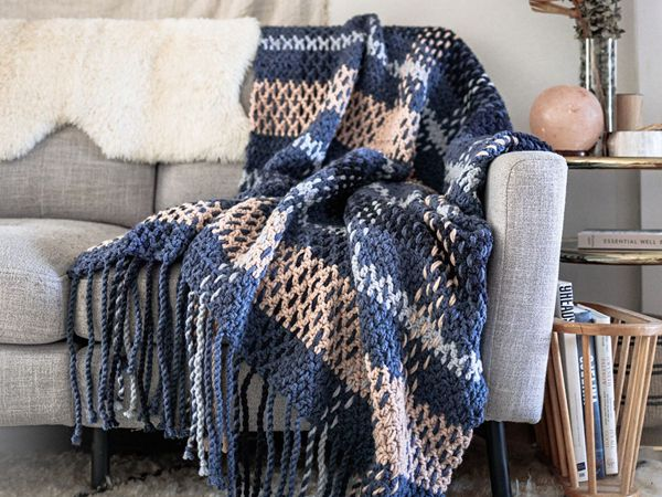 crochet Wildwood Plaid Blanket free pattern