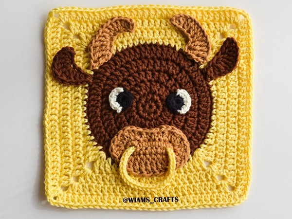 crochet Year of The Ox Granny Square free pattern