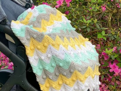 crochet Bobble Chevron Baby Blanket free pattern