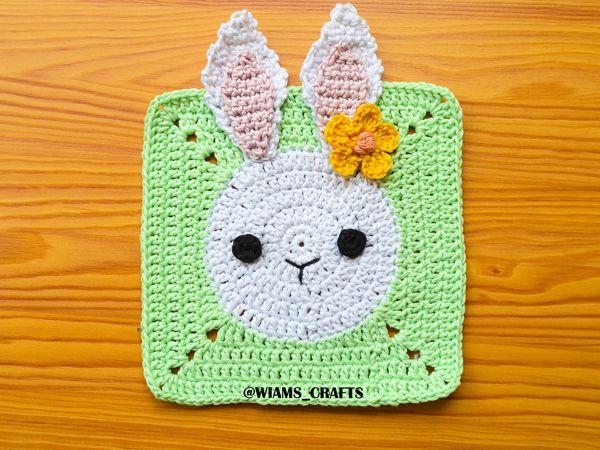 crochet Bunny Granny Square free pattern