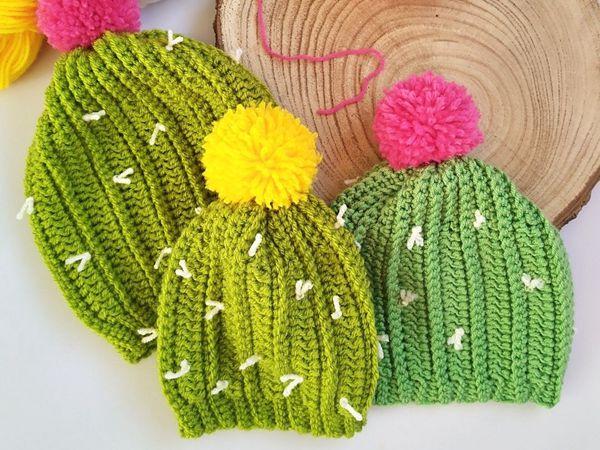 crochet Cactus Beanie free pattern