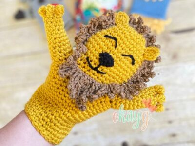 crochet Cowardly Lion Hand Puppet free pattern